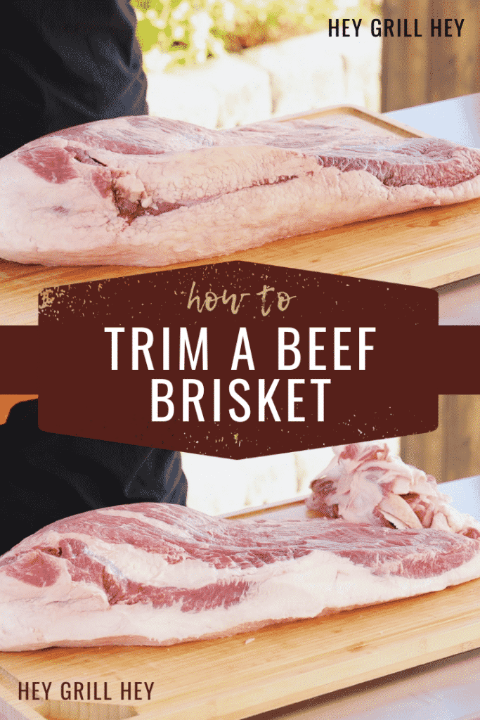 """photos of uncooked brisket on a wooden cutting board with the text overlay that reads """"how to trim a beef brisket."""""""