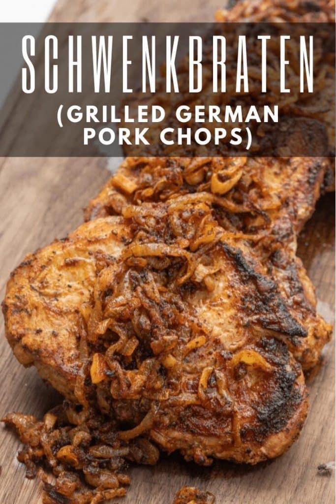 grilled schwenkbraten on a wooden cutting board.