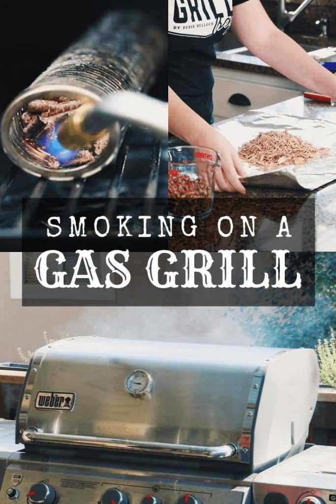 collage of smoking on a gas grill with smoke tube pellet and wood chip pouch
