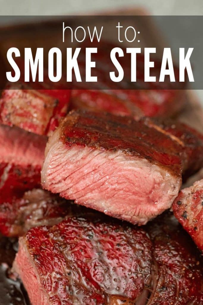 """Sliced Smoked Steak in a pile on a wood cutting board, text overlay reads, """"How to: Smoke Steak."""""""