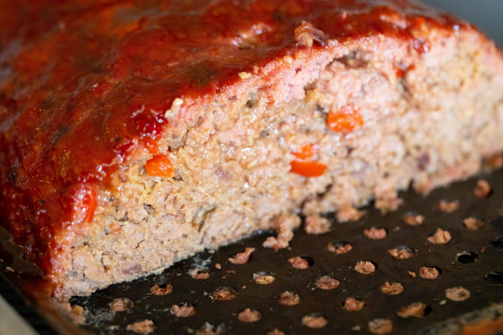 close up view of the meat loaf sliced open.