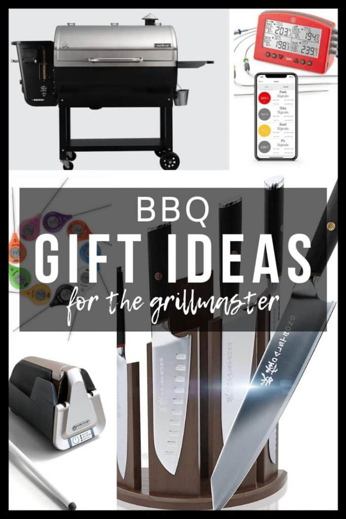 collage of bbq gift ideas, including pellet grill, meat thermometers, knife sharpener, and knives.