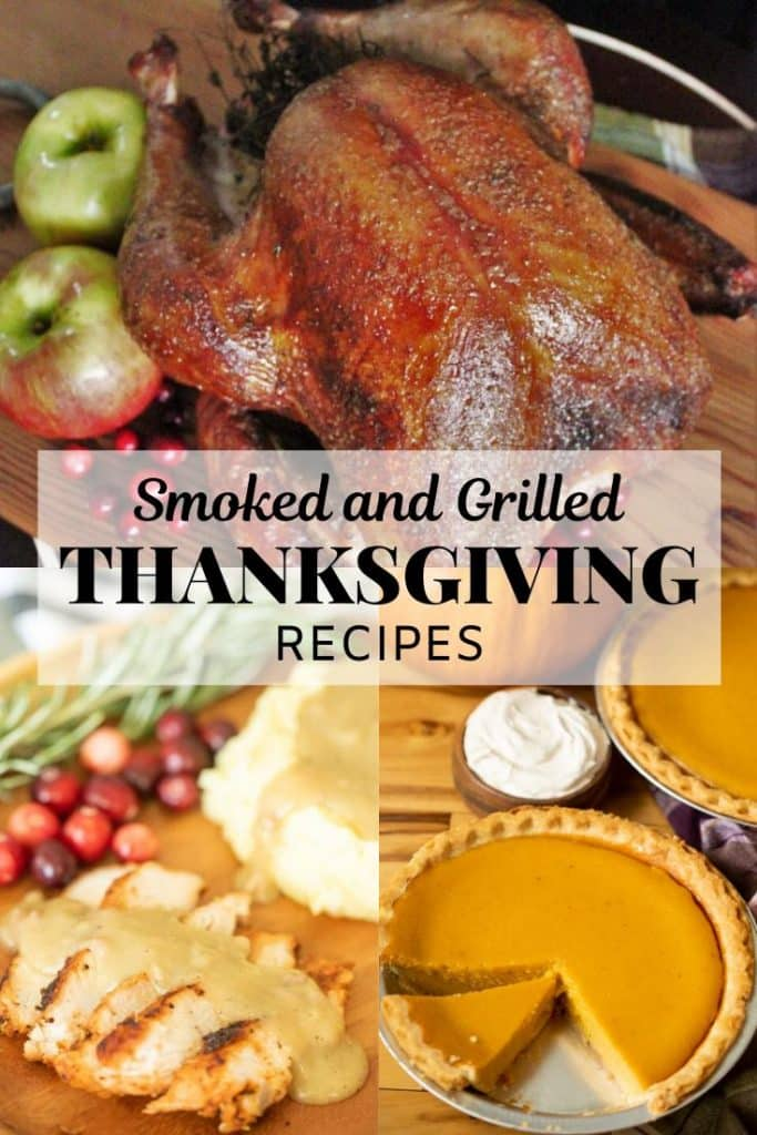 collage of smoked turkey, smoked turkey gravy, and pumpkin pie.