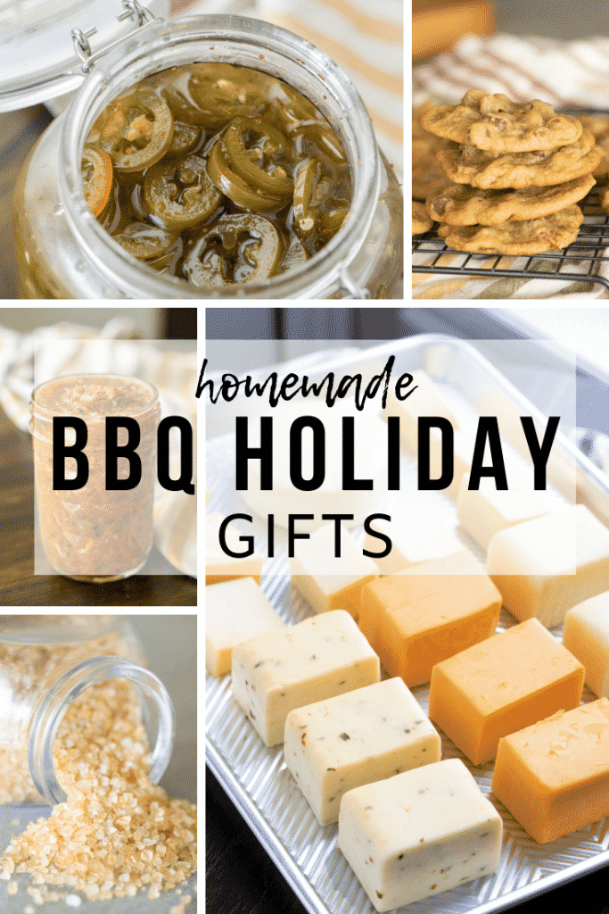 Five-image collage of homemade BBQ gifts, including candied jalapenos, smoked salsa, smoked salt, smoked chocolate chip cookies, and smoked cheese.