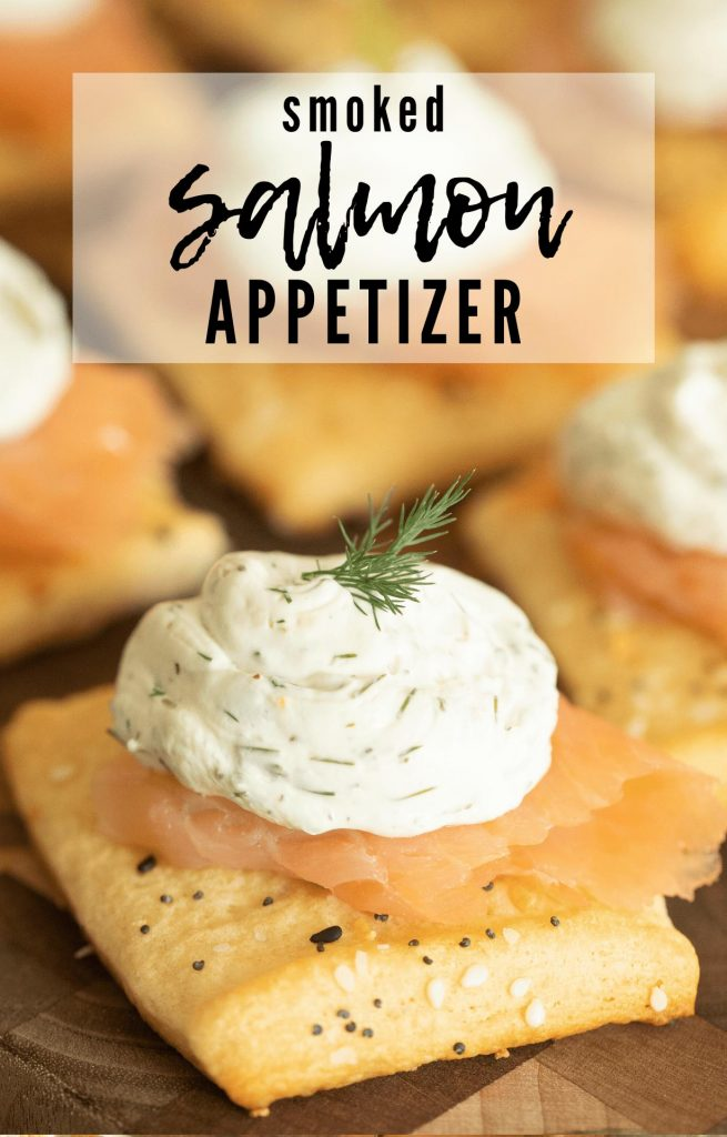puff pastry with everything bagel seasoning topped with thin sliced smoked salmon and lemon dill cream cheese.