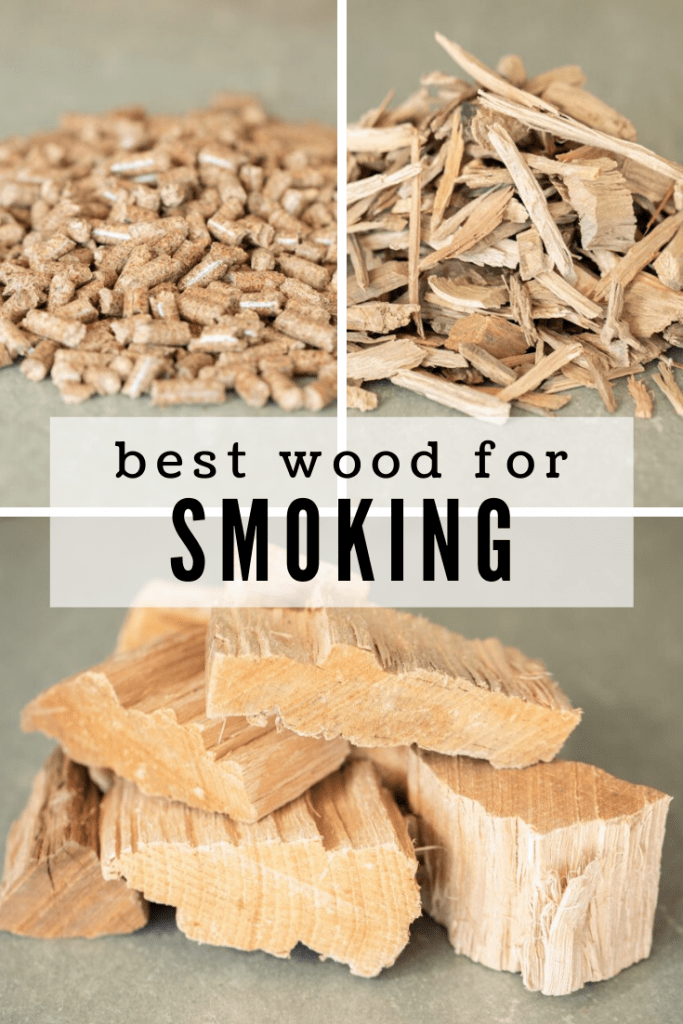 collage of wood pellets, wood chunks, and wood chips for smoking