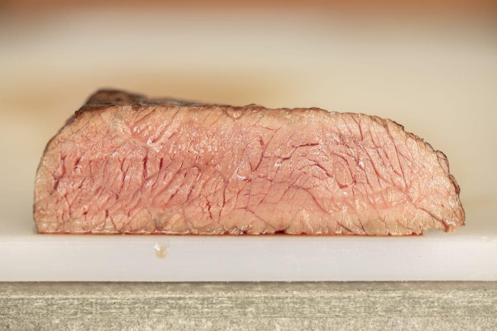 Cross section image of a medium steak.