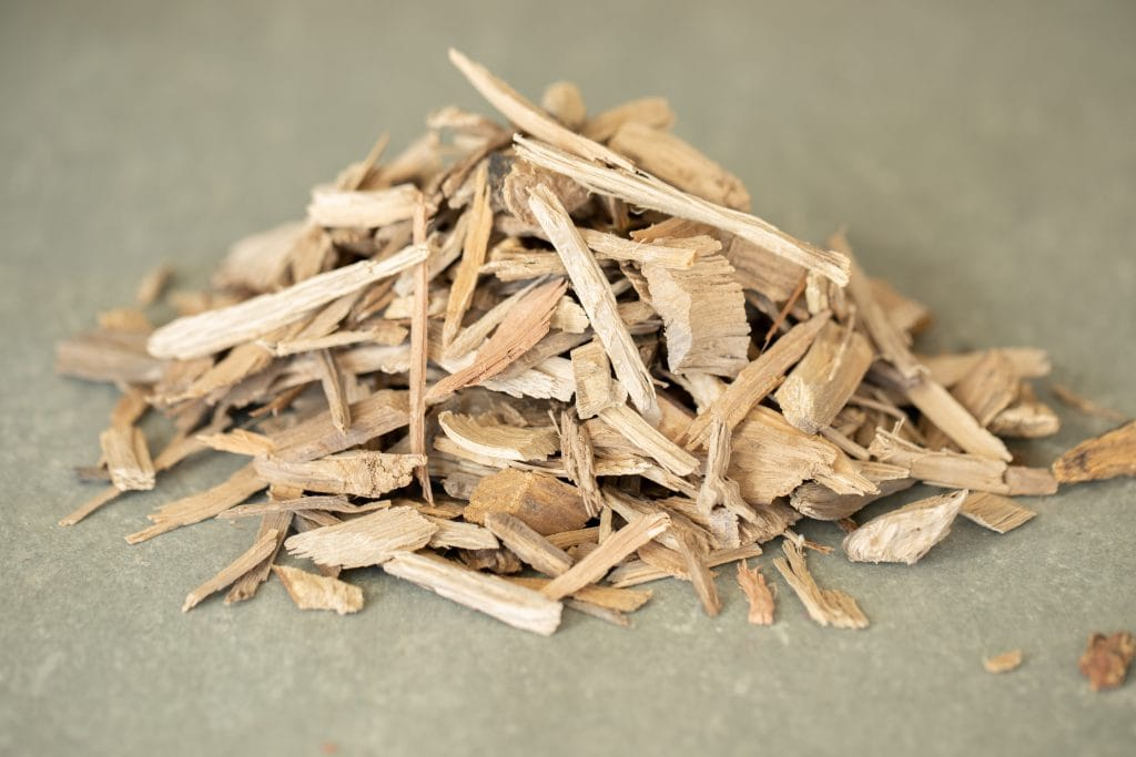 pile of wood chips for smoking