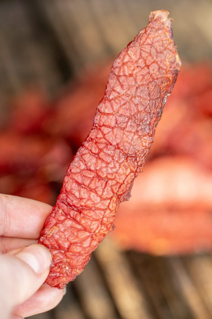 close up of a piece of corned beef jerky.