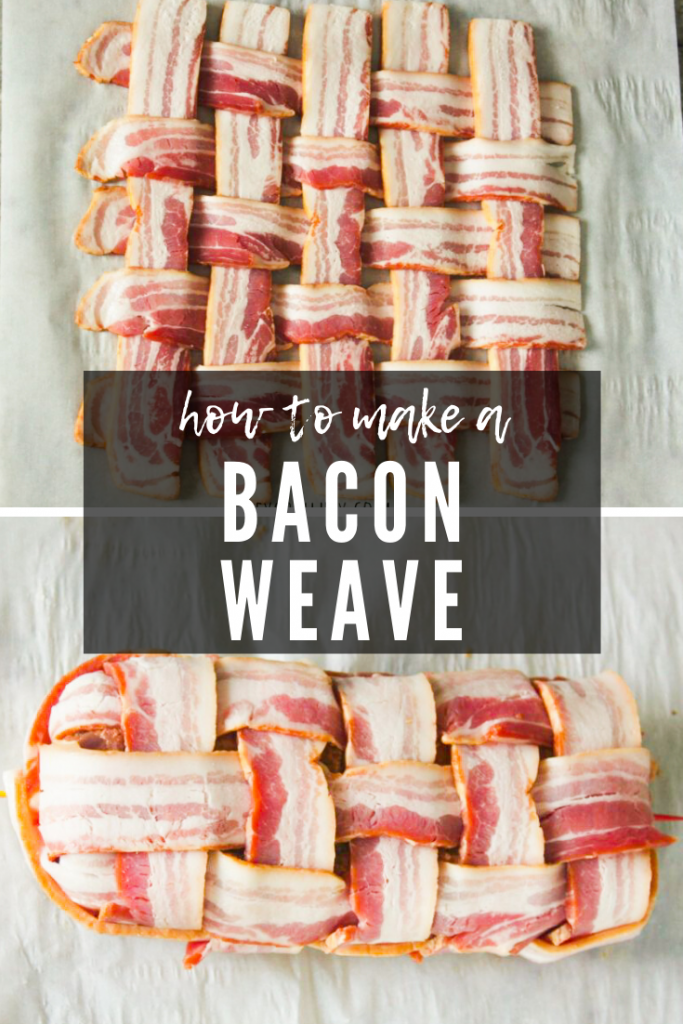 Two image collage of a finished bacon weave, and bacon weave over a sausage fatty.