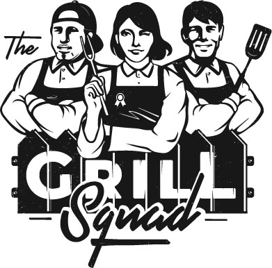 """The Grill Squad Logo with two men and one illustrated BBQ chefs behind the text """"The Grill Squad."""""""