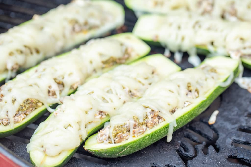 zucchini boats on the grill.