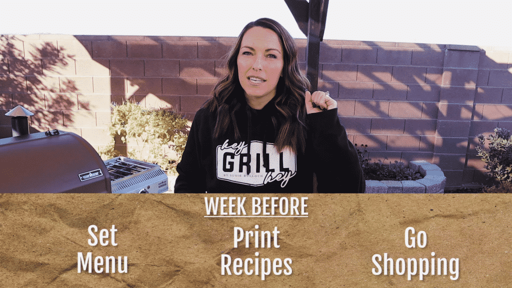 Susie speaks into the camera with text overlay at the bottom of the image reading: Week Before: Set menu, print recipes, and go shopping.