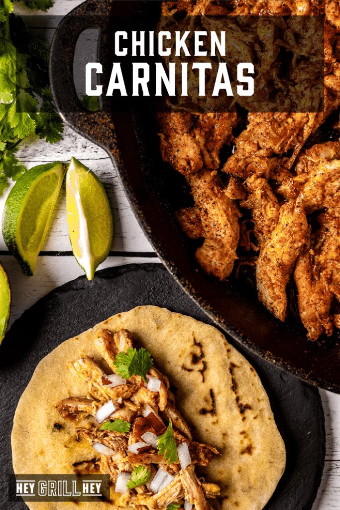 Tortilla filled with shredded chicken next to a dutch oven with grilled chicken with text overlay - Chicken Carnitas.