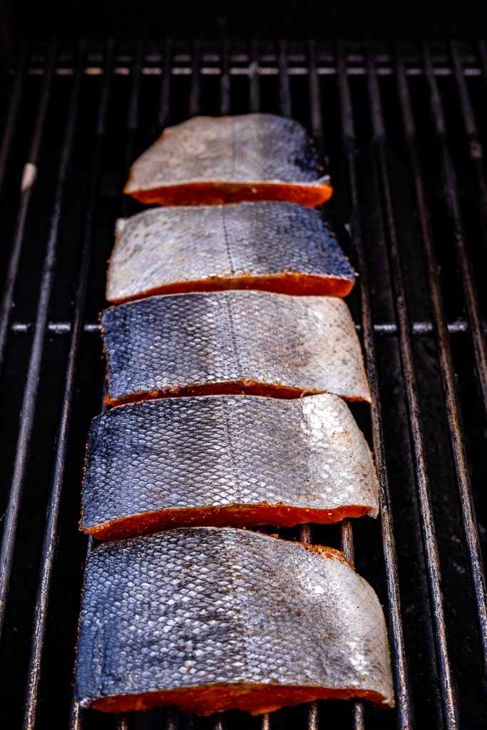 Salmon skin-side up on the grill.