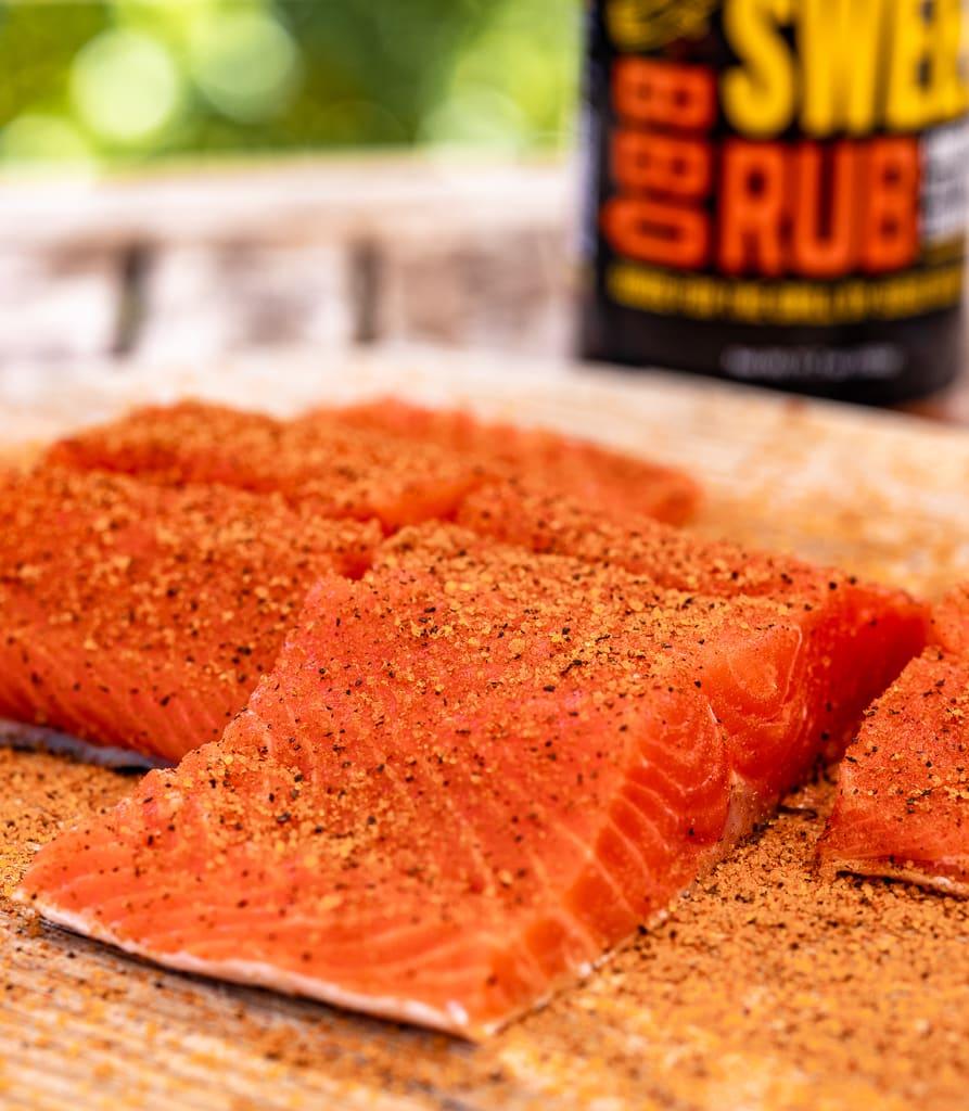 Salmon fillets seasoned with Sweet Rub.